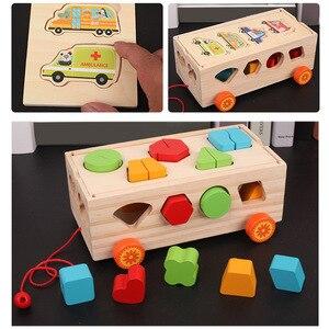 Image 3 - Kids Houten Bouwstenen Puzzel Speelgoed Trailer Vorm Sorter Speelgoed Puzzel Baby Vroege Educatief Cognitieve Speelgoed voor kinderen Gift