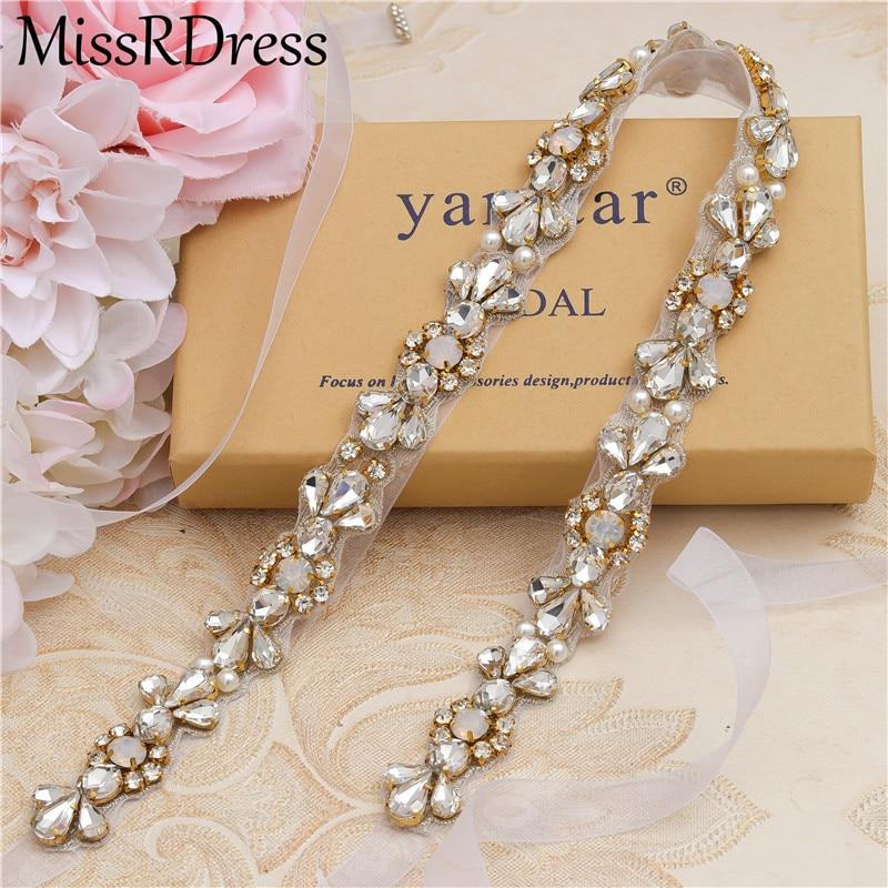 MissRDress Opals Bridal Belt Crystal Thin Wedding Dress Belt Rhinestones Wedding Sash For Women Prom Gown JK977