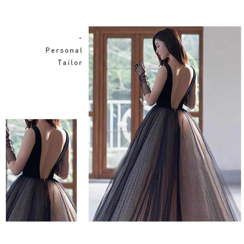 Женское вечернее платье It's Yiiya, черное платье без рукавов с v-образным вырезом и открытой спиной, модель E777 большого размера плюс, 2020