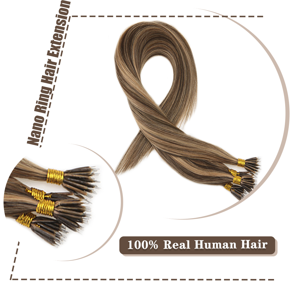 Moresoo 16-22inch Micro Nano Ring Hair Extensions Human Hair Brown #4 Highlights With #27 Blonde Pre Bonded 50 Strands 40g