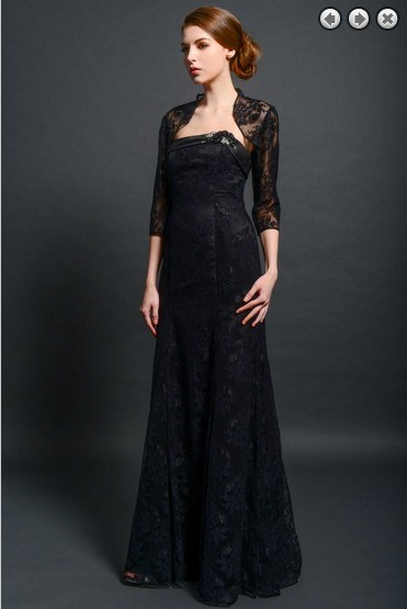 Maxi Elegant 2018 Formal Party Evening Gown Vestido De Noiva Formales Long Black Mother Of The Bride Dresses With Lace Jacket