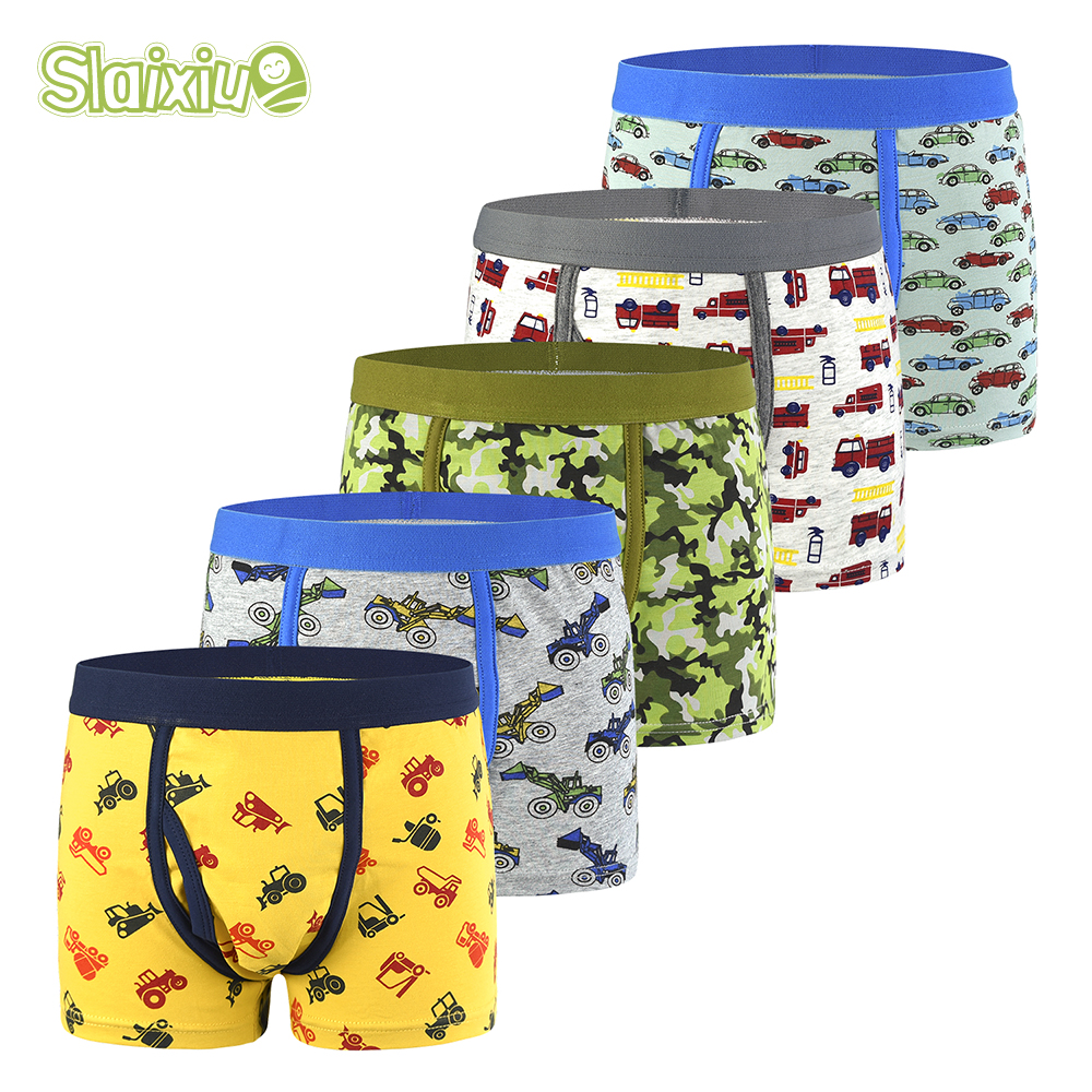 5Pcs/lot Boys Underwear Briefs For Kids Soft Organic Cotton Panties For 2-12Years Old Children's Pants Teenager Clothes