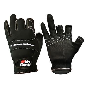 Skórzane rękawice wędkarskie ABU Garcia trzy figner wysokiej jakości tkaniny komfortowe antypoślizgowe wędkarskie rękawiczki bez palców 1 para tanie i dobre opinie Anti-Slip Trzy Wyciąć Palec