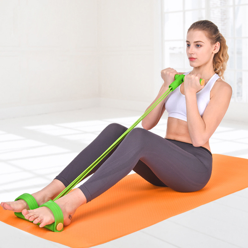 Fitness 4 Tube Resistance Bands Latex Pedal Exerciser Sit-up Pull Rope Expander Elastic Bands Yoga Equipment Pilates Workout AAA