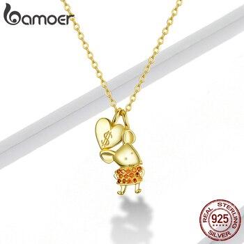 Bamoer GAN164 925 srebro naszyjnik zabawny i piękny złoty mysz szczur naszyjnik dla kobiet biżuterii śliczny prezent
