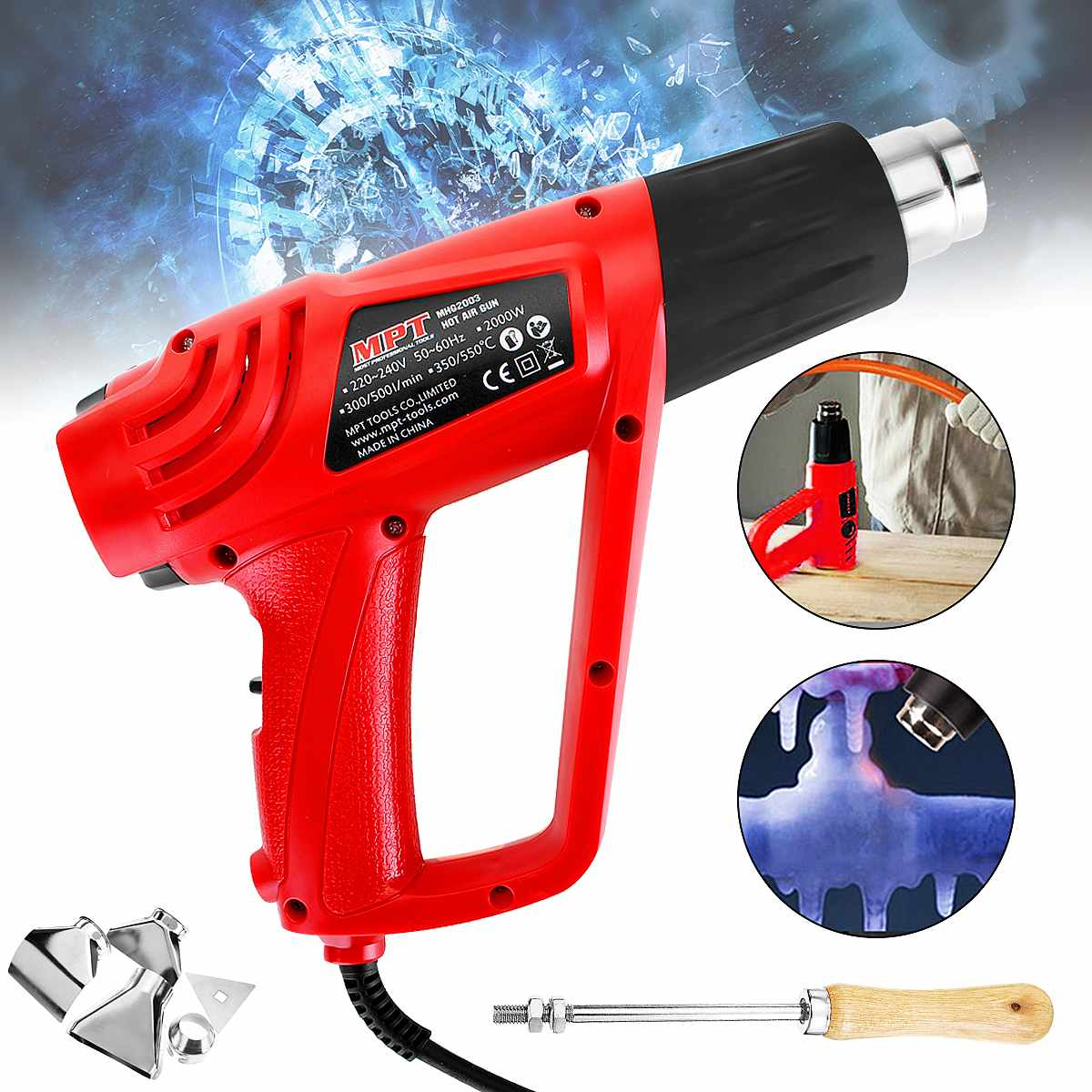 2000W 220V EU Heat Guns Hot Air Guns Solder Hair Dryer Temperature-controlled Building Hot Air Soldering Hair Dryer