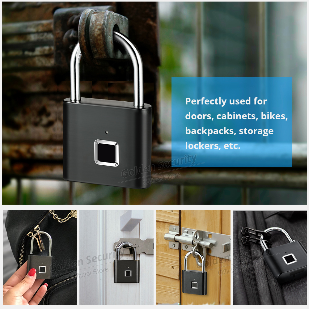Golden Security 2pcs Smart Fingerprint Unlocking Padlock USB Rechargeable Keyless House Door Lock Flash Unlock Developing Chip