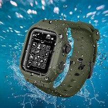 Funda de silicona resistente al agua IP68 con correa deportiva, accesorios para iwatch Apple Watch Series 6 5 4 3 2 42mm 44mm 44 42mm