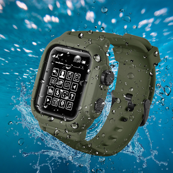 IP68 Waterproof Silicone Case Cover with Sport Band Strap For iwatch Apple Watch Series 6 5 4 3 2 42mm 44mm 44 42 mm Accessories