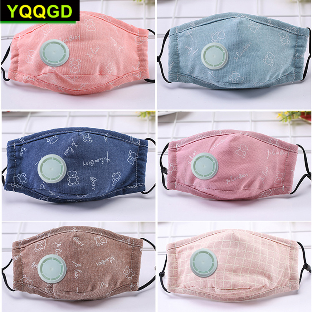 1Pcs Fashion Children Kids Boys Girls Cotton Breath Valve PM2.5 Mouth Mask Anti-Dust Anti Pollution Mask Cloth Activated Carbon