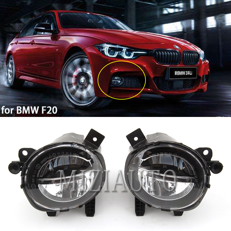 MIZIAUTO Car Front LED Fog Light Fog Lamp DRL Driving Lamp For BMW F20 F22 F30 F35 LCI With LED Bulbs White Light
