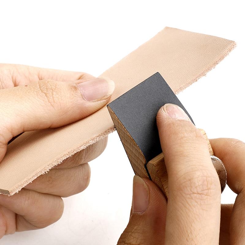 DIY Handmade Leather Craft Edge Tool Beech Block Handmade Leather Durable Tanned Tool Wooden Edge Grinding Sandpaper Treatment