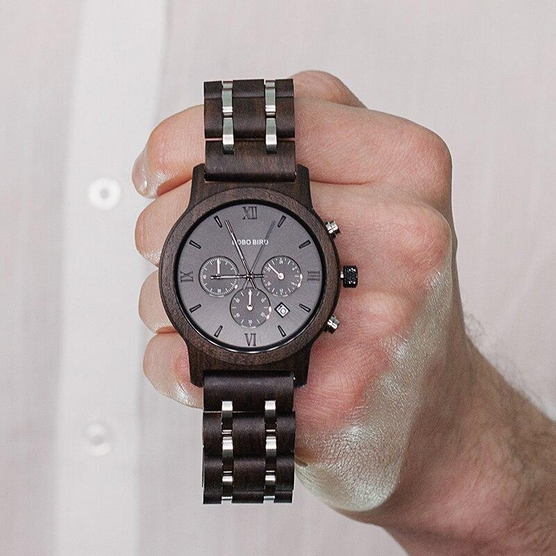 Erkek Kol Saati BOBO BIRD Wooden Watch Men Luxury Stylish Wood Timepieces Chronograph Military Quartz Watches Male Stopwatch