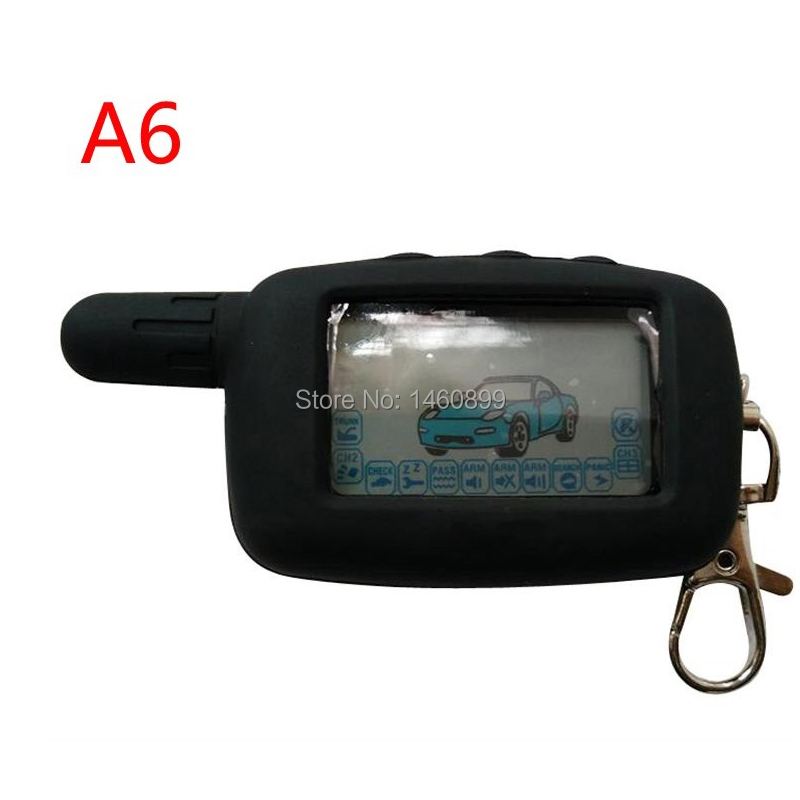 A6 2-way LCD Remote Control Key Fob Keychain + Silicone Key Case For Russian Version Starline A6 Two Way Car Alarm System