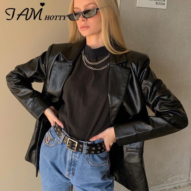 IAMHOTTY Black Motorcycle Leather Women's Jacket Fashion Faux PU Pocket Moto & Biker Punk Streetwear Coat Female Clothing Autumn