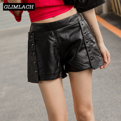 Autumn Winter New Elastic Waist Real Leather Shorts Women Luxury Sheepskin Genuine Leather Short Pants Ladies Streetwear Casual
