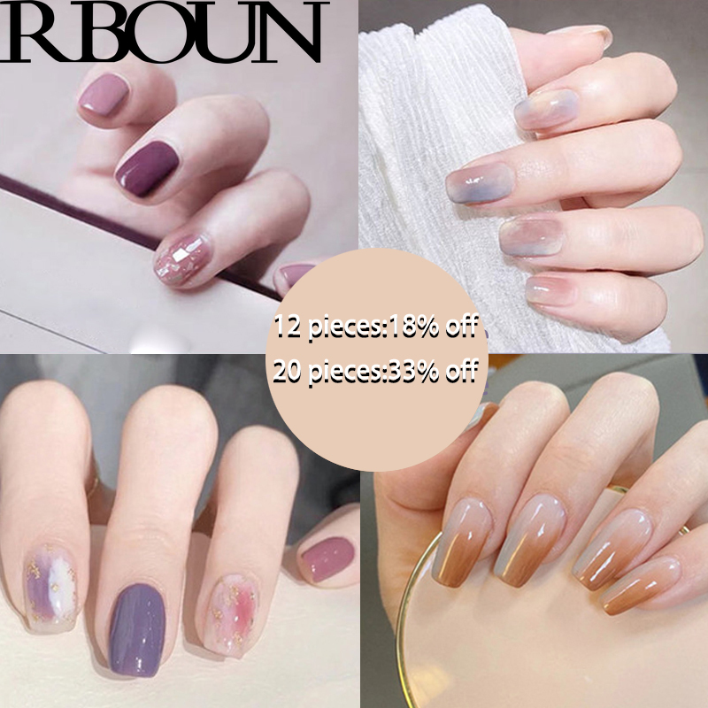 Nail Tip Fake Art Press on Nails with Glue Designs Set Full Artificial Short Packaging Kiss False Clear Cover Tipsy Stick Square 1