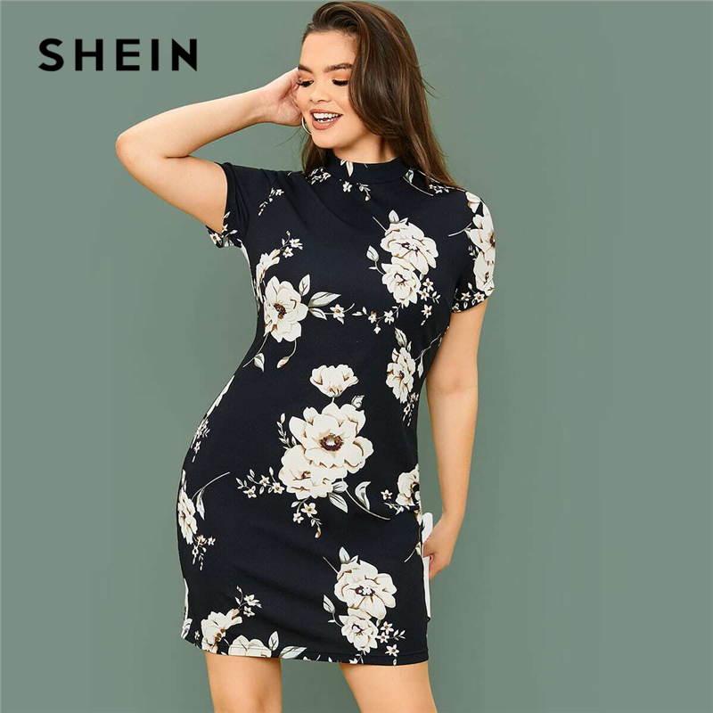 SHEIN Plus Size Mock-neck Floral Print Bodycon Dress Women Spring Short Sleeve Slim Fit Pencil Elegant Short Dresses