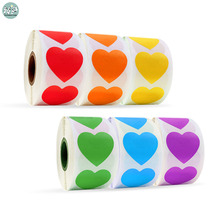 500 Pcs/roll Colors Heart Stickers Seal Labels with Black Red Blue Love for Scrapbooking Diy Kawaii Stationery