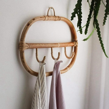 Nordic Vintage Rattan Wall Hooks Clothes Hat Hanging Hook Crochet,Hangers for Home Hotel Dorm Decor,Clothes Organizer