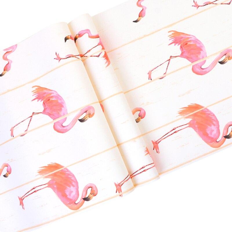 Bonne qualité style nordique rose flamant bois grain papier peint vêtements magasin net rouge papier peint salon TV fond mur