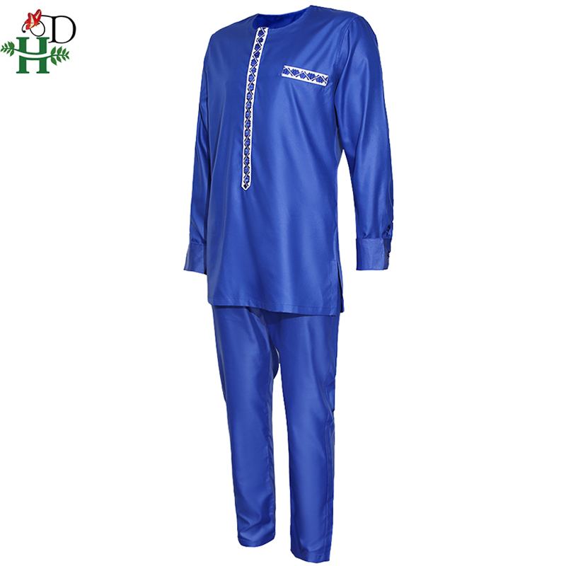 H&D Men's Dashiki Shirt Pants Suit Plus Size Men African Clothes Long Sleeve Top With Trouser Set 2PC Outfit Embroidery Attire 3