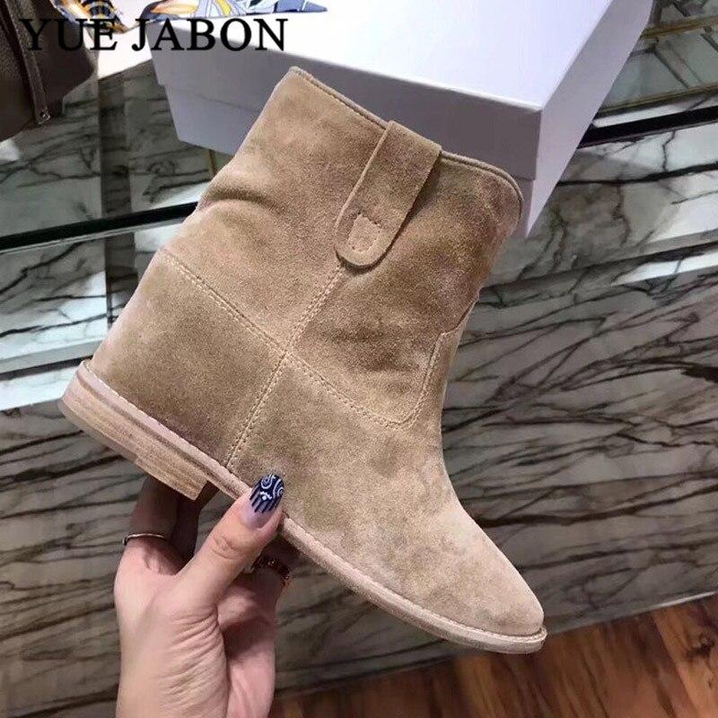 Classique Chelsea rétro Nude daim bottines pour femmes plat/augmentant talons botas mujer confortable hiver zapatos de mujer - 6