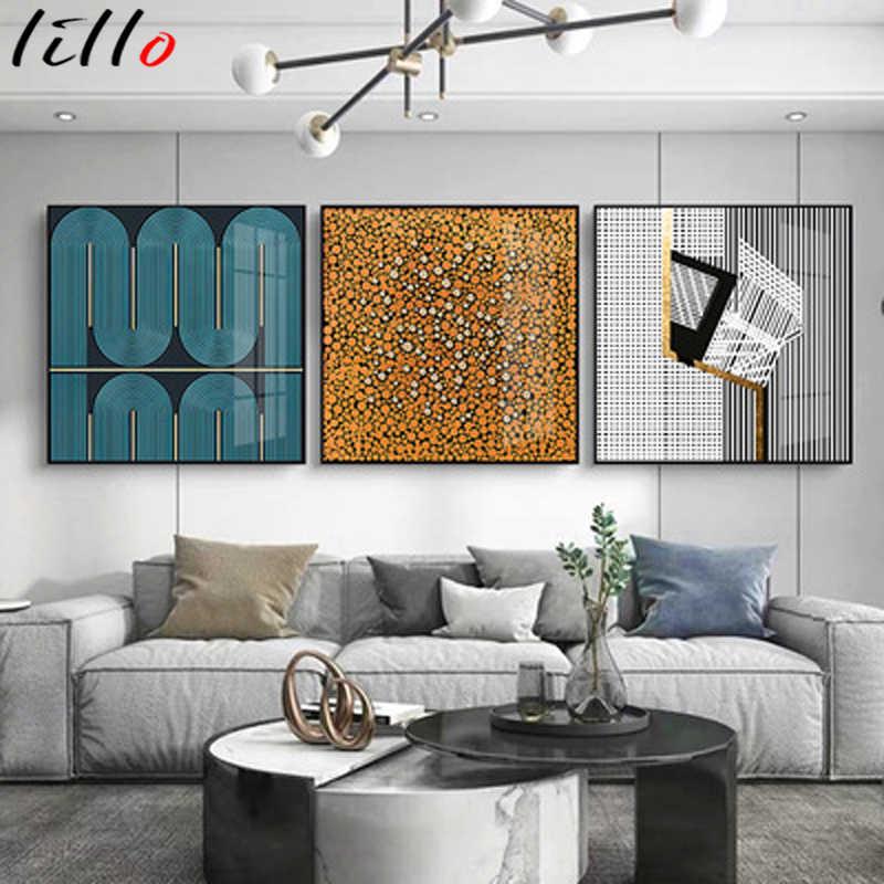 Абстрактные линии геометрический художественный холст для живописи простая картина стене плакат изображение гостиная украшения дома квадратная декоративная