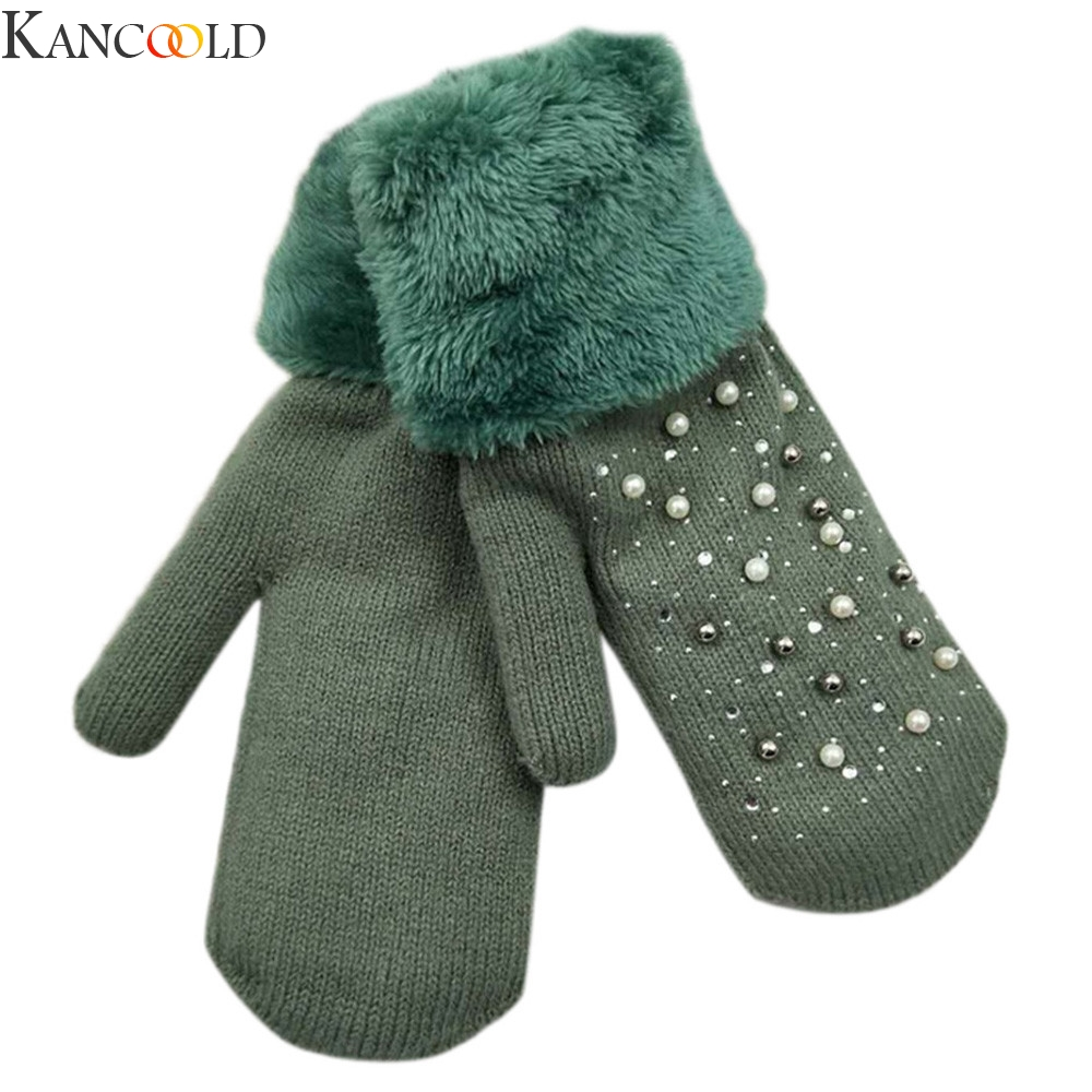 KANCOOLD Winter Women Glove Knitted Mittens Plush Thick Warm Gloves & Mittens Solid Ladies Without Fingers Warm Heart Gloves