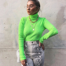 Solid Turtleneck Slim Fitted Neon T-Shirt Women Long Sleeve Tops Tee