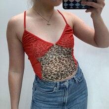 Cami Corset Crop-Top Women's Tops Aesthetic Y2k Mesh E Girl Cute Kawaii Patchwork Leopard-Print