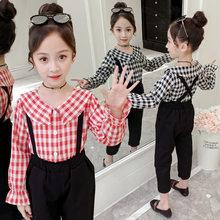 Get more info on the 2019 Girl Autumn Fashion Children's Clothing Sets Plaid Tops Shirt+ Solid Black Pants 2pcs Suit Kids Clothes Girls Clothing Set
