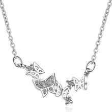 KOFSAC Exquisite 925 Sterling Silver Necklace Girl Jewelry Charm Zircon Butterfly For Women Valentines Day Accessories