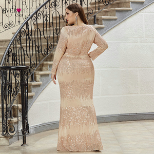 Image 2 - Luxury Prom Dresses Plus Size Ever Pretty Full Sleeve Deep Mermaid V Neck Sequined Sexy Autumn Winter Party Gowns Gala Jurk 2020