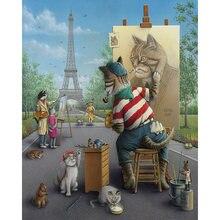 Diy картина по номерам животных набор художника маслом кошек