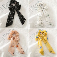 Chiffon Long Bow Ribbon Scrunchie Women Girls Floral Print Hair Scarf Solid Elastic Rubber Bands Hair Accessories