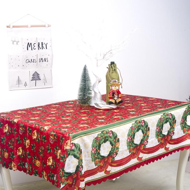 Прямоугольная полиэфирная водонепроницаемая скатерть с принтом рождественские украшения для скатерти для рождества Y
