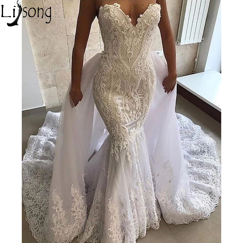 Luxury Strapless V Neck Mermaid Wedding Dress Elegant Lace Appliques Richly Decorated Bridal Wedding Gowns With Detachable Skirt
