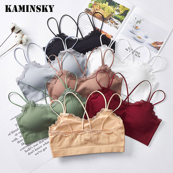 Kaminsky Women Bralette French Style Lace Bra Girls Triangle Cup Lingerie Wireless Underwear Soft Thin Seamless Bra image