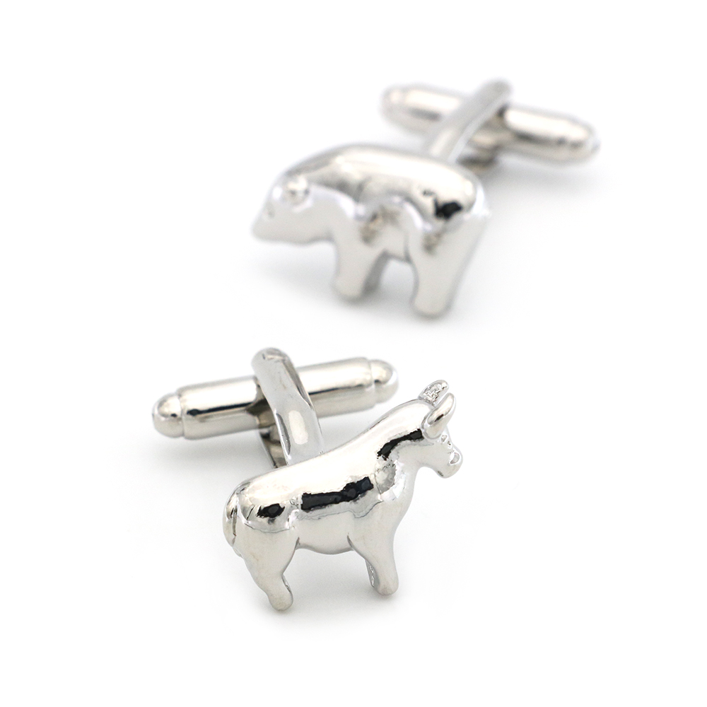 Free Shipping Men's Cufflinks Stock Market Design Silver Color Cattle & Bear Quality Copper Cuff Links Wholesale&retail