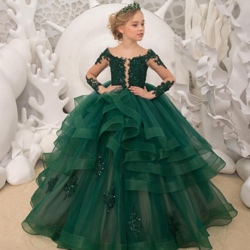 Applique Beading Girl Birthday Flower Girls' Dresses Green Flower Girls Lace Long Sleeve Christmas Ball Gown