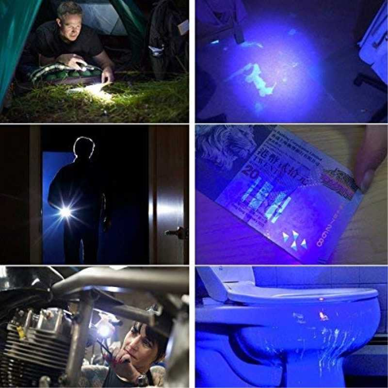 Mais brilhante 2in1 uv lanterna led linternas tocha 395nm ultravioleta detector de urina para acampamento tapete pet urina captura scorpions
