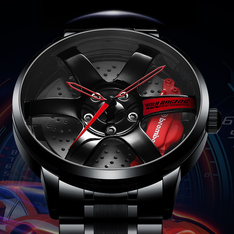 NIBOSI Watch Sport-Car Custom-Design Creative Rim Rim-Hub Masculino Relogio title=