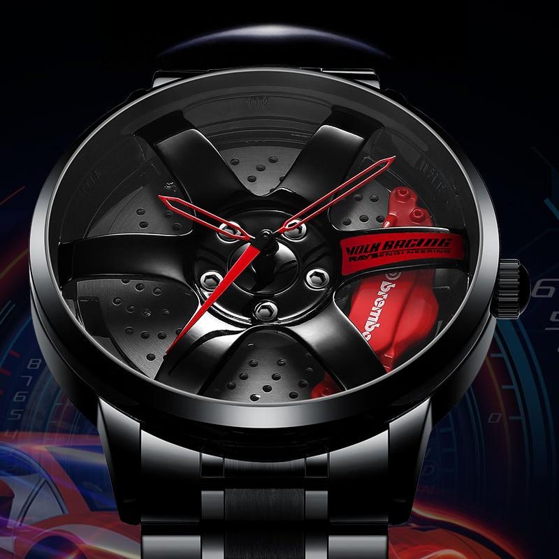 NIBOSI piasta koła zegarek na zamówienie samochód sportowy Rim zegarki wodoodporny kreatywny Relogio Masculino zegarki zegarek męski
