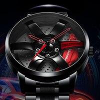 Nibosi aro da roda hub relógio design personalizado esporte aro do carro relógios à prova dwaterproof água criativo relogio masculino relógios homem relógio de pulso