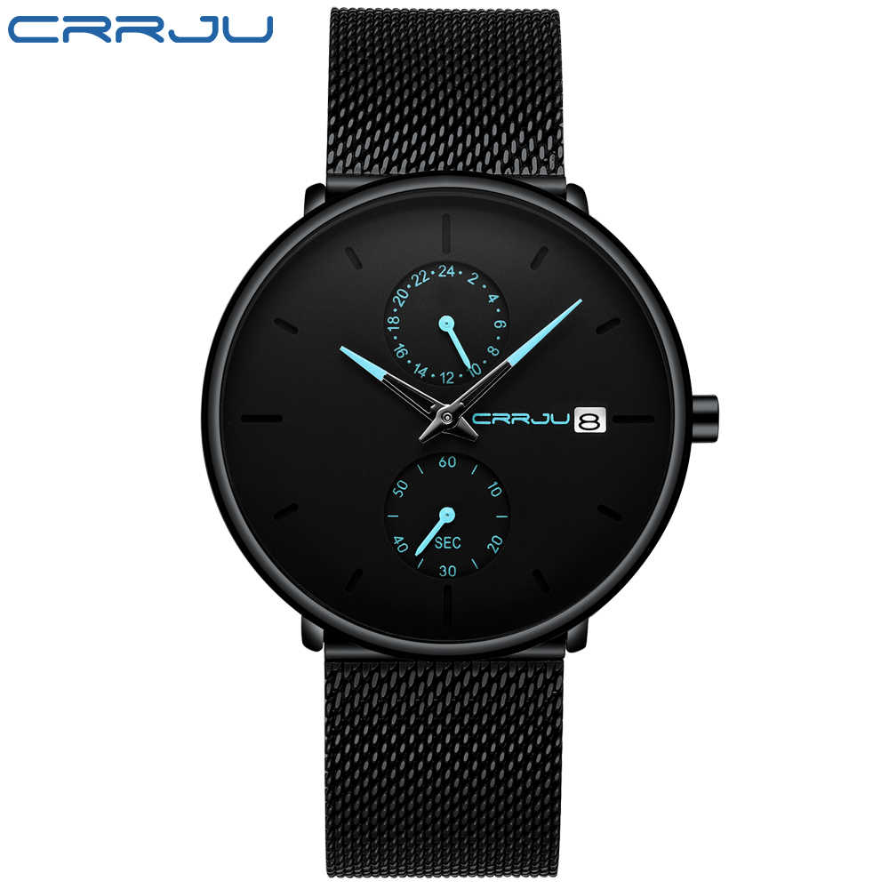 Montre homme CRRJU Top marque étanche Quartz montres hommes en acier inoxydable sport homme horloge Date Relogio Masculino