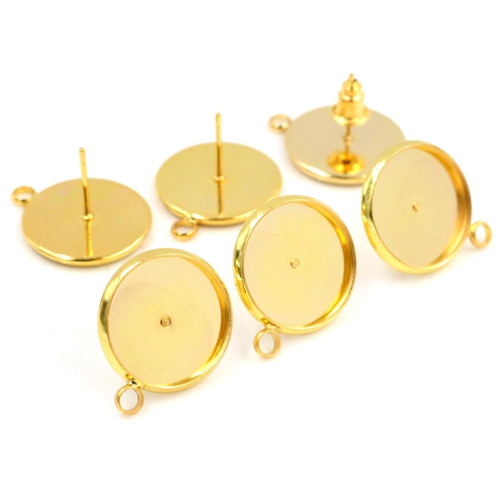 14mm 10pcs/Lot Gold Colors Earring Studs,Earrings Blank/Base,Fit 14mm Glass Cabochons,earring Setting-T2-09