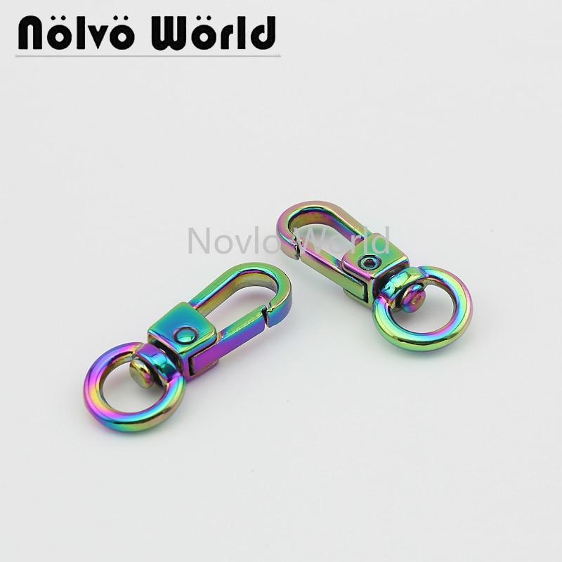 Wholesale 500pcs, 32*7.7mm 3/8 Inch, Rainbow High Quality Metal  Buckle Snap Hook For Keychain Handbag DIY Hardware Accessories