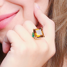 Big Square Coffee Brown Crystal Ring Silver color Jewellery Finger Rings Women Best Jewelry on Sale