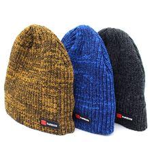 Зимние вязаные облегающие шапки женские толстые теплые женская